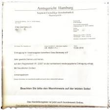 Registrierungsbestätigung crea Germany